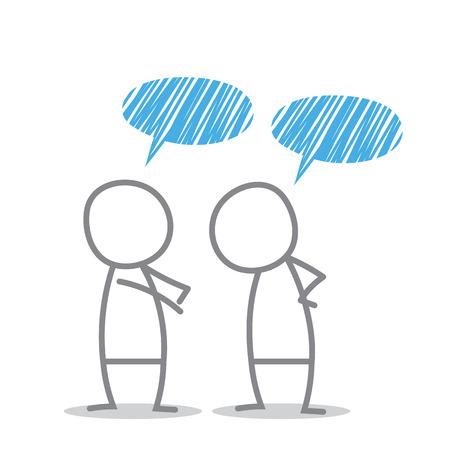 Les hommes discutent dans des situations différentes.