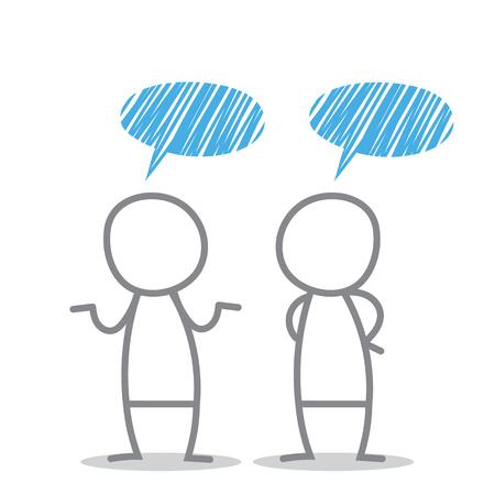 scrawl: Los hombres discuten en diferentes situaciones.