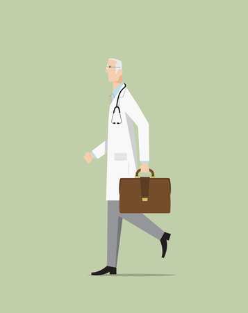 practitioner: Doctor walking and holding bag.