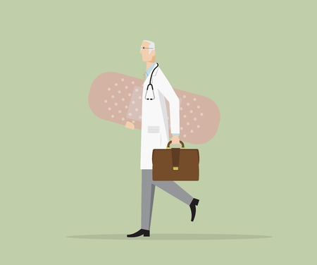 carries: Doctor carries a big band-aid