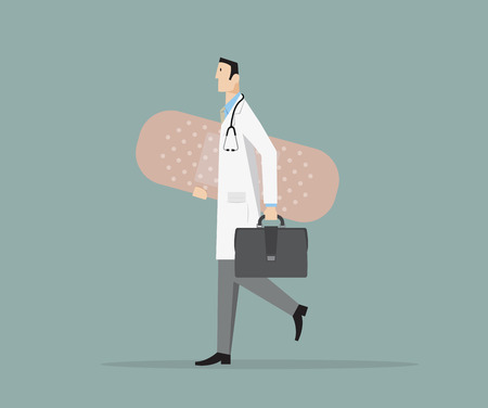 Doctor carries a big band-aid