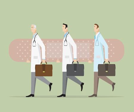 Doctors carrying a big bandage.