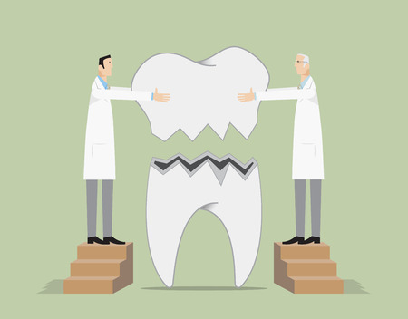 Les dentistes réparent une dent brisée. Vecteurs