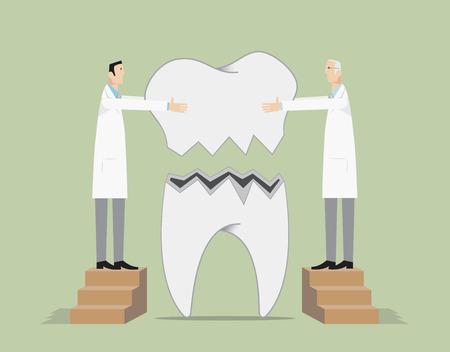 Zahnärzte reparieren einen gebrochenen Zahn. Vektorgrafik