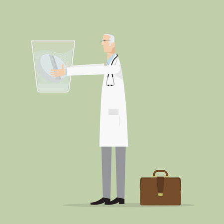 doctor tablet: Doctor holding a glass of water with effervescent tablet. Illustration