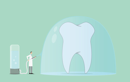 associate: Dentist covers a tooth with protective paste. Illustration