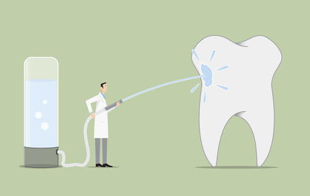 associates: Dentist cleaning a big tooth. Illustration