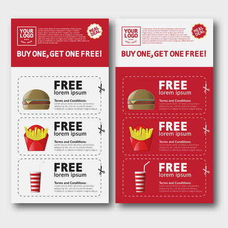 Fast Food Voucher Template With Hamburger Fries And Cola Royalty