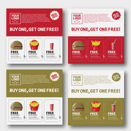 hamburger and fries: Fast Food Voucher Template With Hamburger, Fries and cola. Illustration