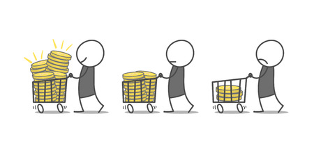 Doodle men in three different financial situation