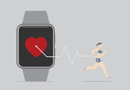 device: Girl running with wearable device. Illustration