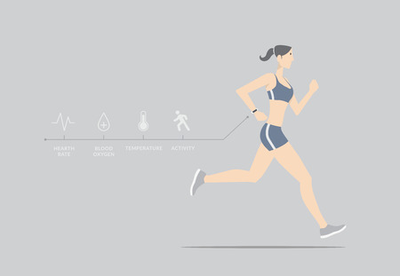 sports activity: Girl running with wearable device. Illustration