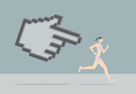 Girl running chased by hand pointer. Illustration