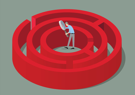Man With Magnifying Glass Finding The Solution of a Maze. Illustration