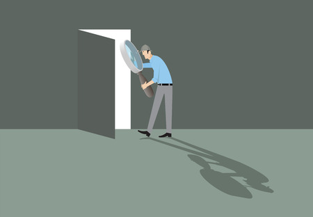 way out: Man with magnifying glass finding the door to way out.