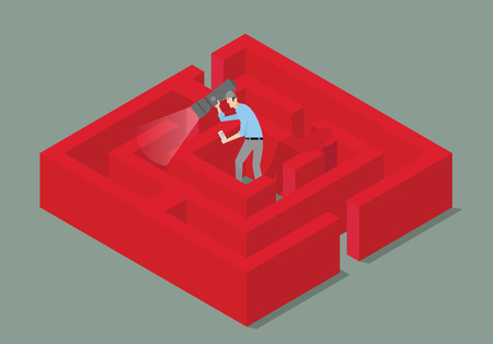 mistery: Man with torch finding the solution of a maze. Illustration