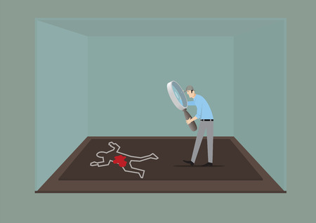 character assassination: Man With Magnifying Glass Investigating The Crime Scene.