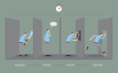 escape: Player in four steps of the game.