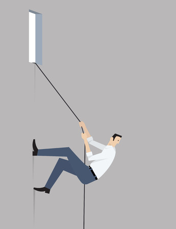 Man climbs the wall using rope. Illustration