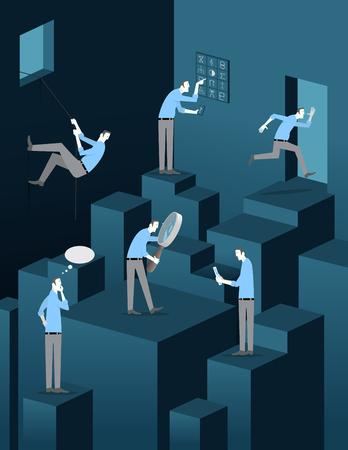 Ontsnappen aan de kamer spel Concept. Player in zes stappen van het spel. Stock Illustratie