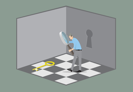 opens: Man with magnifying glass searching key that opens the door. Illustration