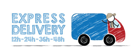overnight delivery: Fast delivery concept with words 12Hrs-24Hrs-36Hrs-48Hrs. Stickman drives van.