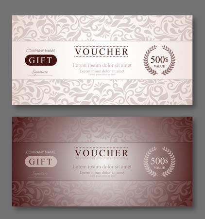 elegant template: Elegant Gift Voucher Template With Damask Pattern.
