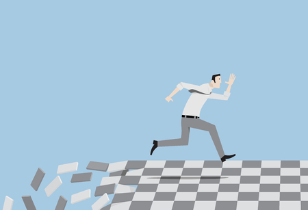 Relentless passing of time concept. Man running on collapsing floor. Illustration