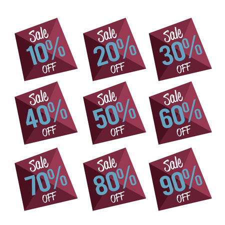 discount tag: Percent OFF Discount Label Tag - Low poly style graphic illustration