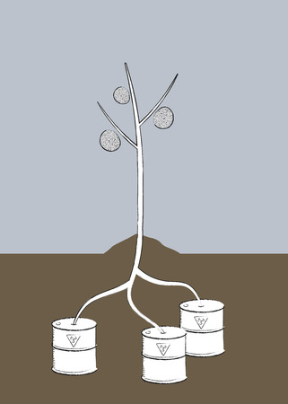 Plant that has its roots in toxic bins. Ilustração