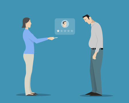 evaluating: Woman evaluating man's appearance choosing one star rating.  Illustration