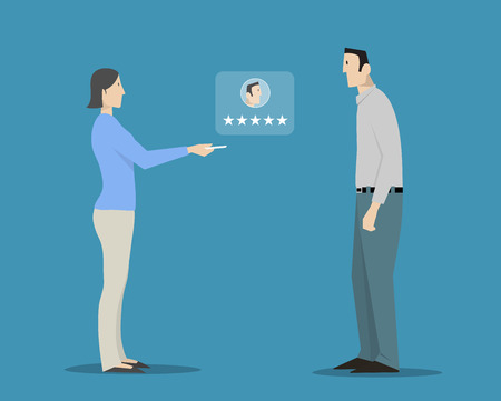 behavior: Woman evaluating man's appearance choosing five stars rating.  Illustration