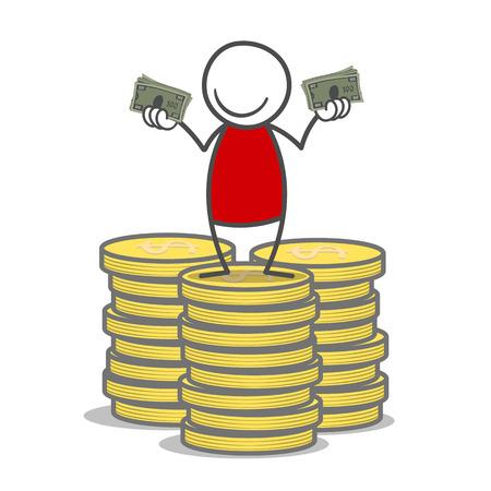 squiggle: Doodle man holding bills in his hands. Illustration