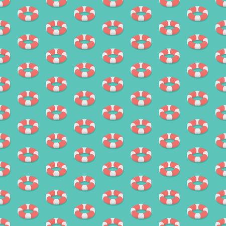 Isometric Lifebuoy Seamless Pattern.