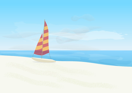 Sailboat on the beach. Illustration