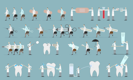 medical team: Group of doctors and dentist. Medical team concept in flat design people character set.