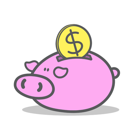 coin bank: Doodle of piggy bank with golden coin. Illustration