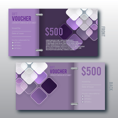 chamfered: Modern Gift Voucher Template With Chamfered Square Background. Illustration