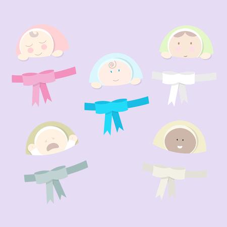 niños diferentes razas: Conjunto de diferentes recién nacidos. Estilo plano.