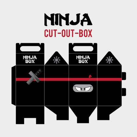 Ninja Cut-Out-Box Vector Template.