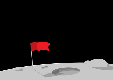Red flag on the planet. Flat style vector illustration.