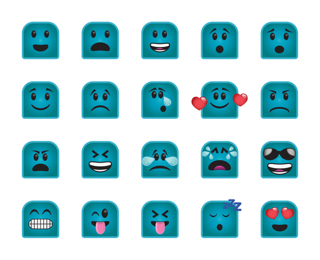 Set of chamfered square icons in different emotions and moods. Illustration