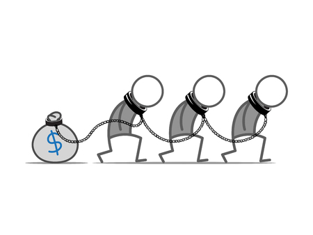 obedient: Three slaves tied to money bag. Illustration