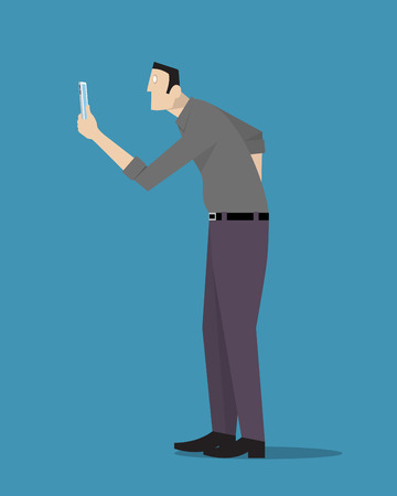 overuse: Man hypnotized from his phone. Illustration