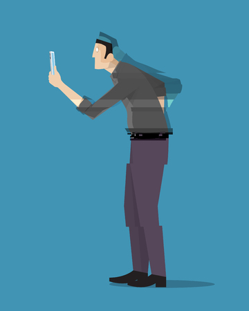flaw: A man disappearing while looking at his phone. Illustration