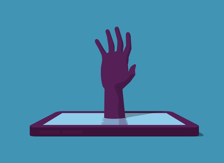 overuse: Hand comes up from smartphone.