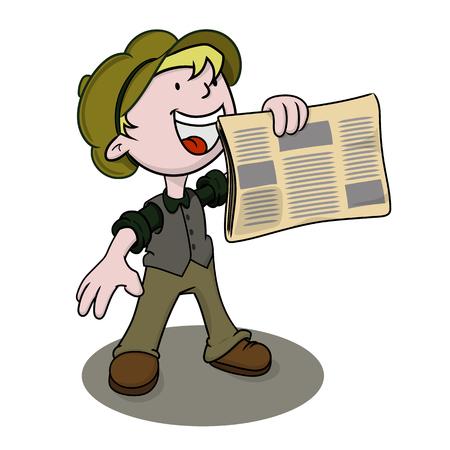 Extra, extra: vintage krantenverkoper houdt zijn papier te koop. Vector illustratie.