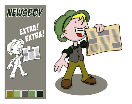 newsboy cap: Extra, extra: vintage newsboy holds out his paper for sale. Vector illustration.