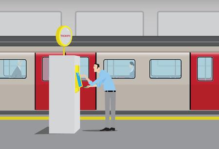 passenger transportation: Man Purchasing Subway Tickets at Self Serve Vending Machine. Illustration