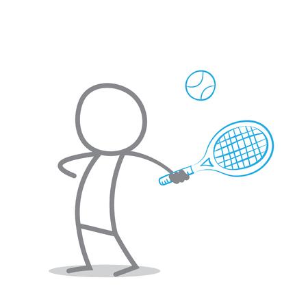 action sports: Doodle Tennis Player Illustration